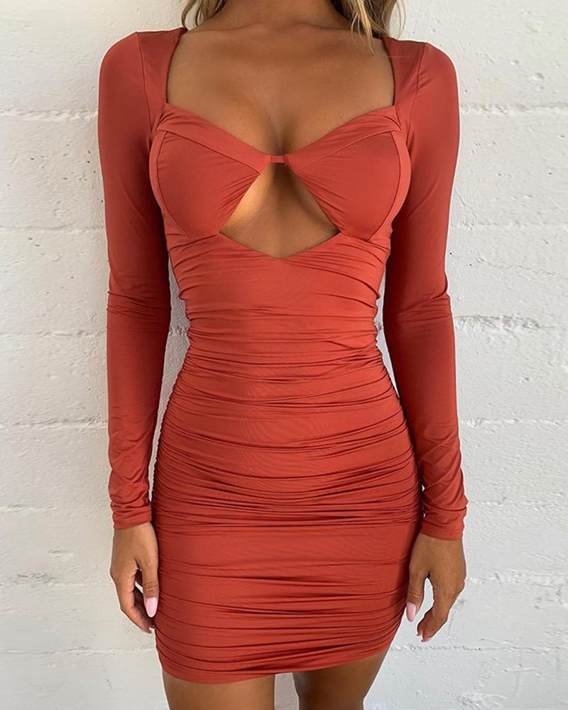 Keyhole Bodycon Ruched Mini Dress