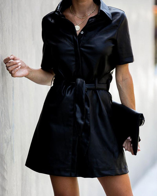 Faux Leather Belted Mini Dress