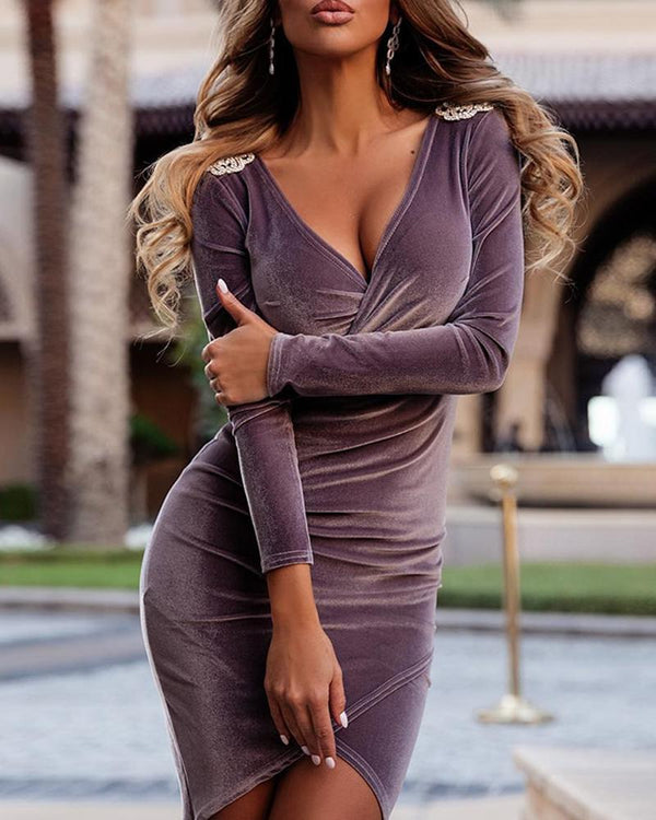 Deep V Bodycon Embellished Shoulder Dress