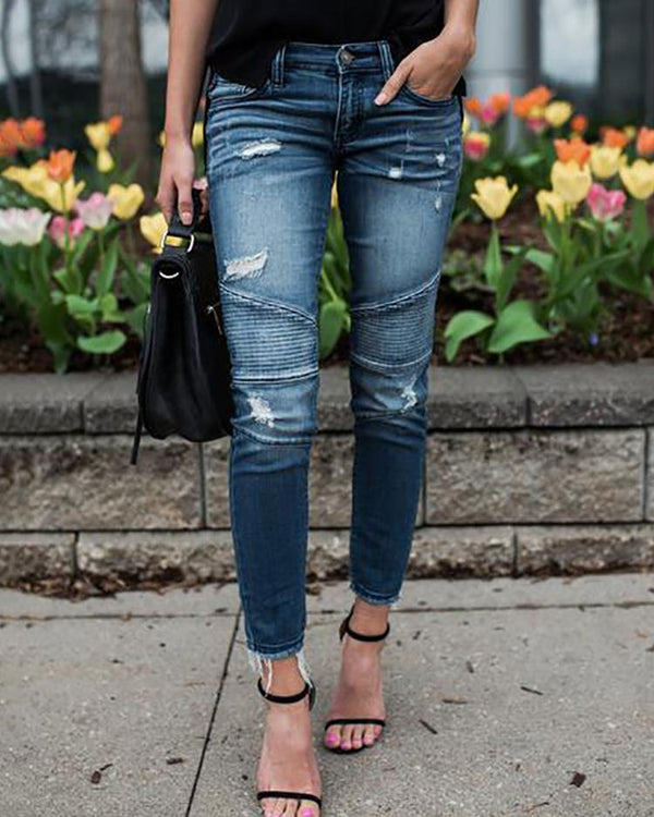 Ruched Ripped Fringes Pencil Jeans