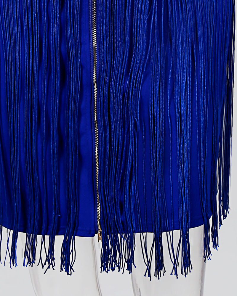 Tassel Sleeveless Zipper Party Dress