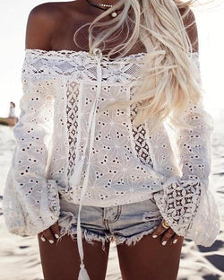 Stylish Lace Off Shoulder Casual Blouse