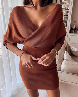 Solid Batwing Sleeve Tight Waist Dress