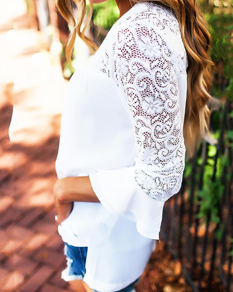 Stylish Lace Applique Patchwork Layered Sleeve Blouse