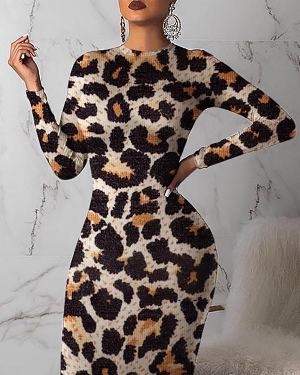 Round Neck Abstract Leopard Print Bodycon Dress