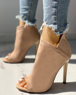 Solid Peep Toe Zipper Up Thin Heeled Boots