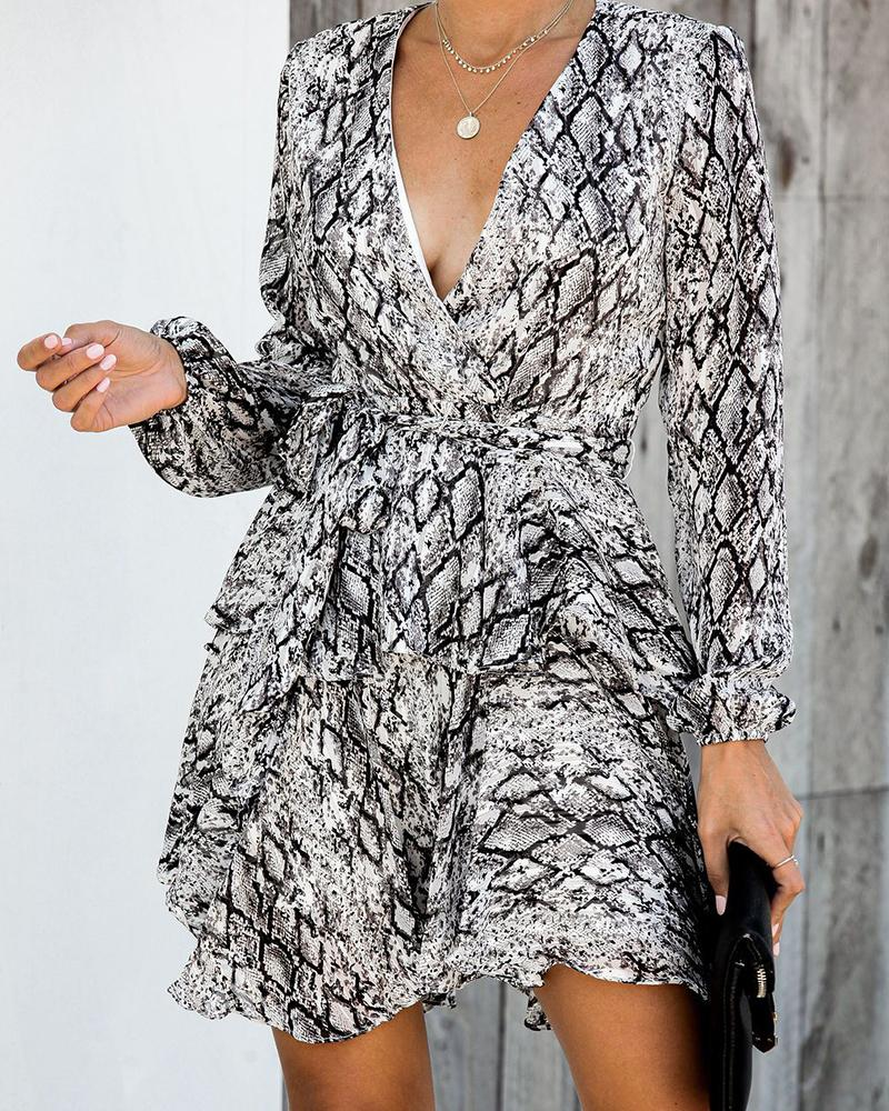 Snakeprint Drape Neck Ruffle Dress