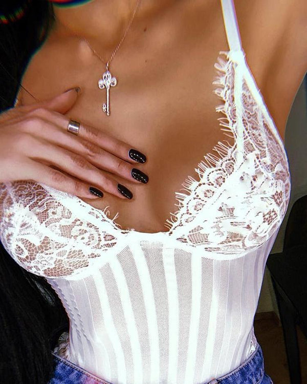 Eyelash Lace Sheer Striped Mesh Teddy Bodysuit