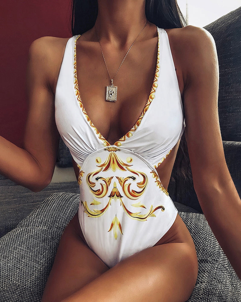 Paisley Print Cutout One Piece Swimwear
