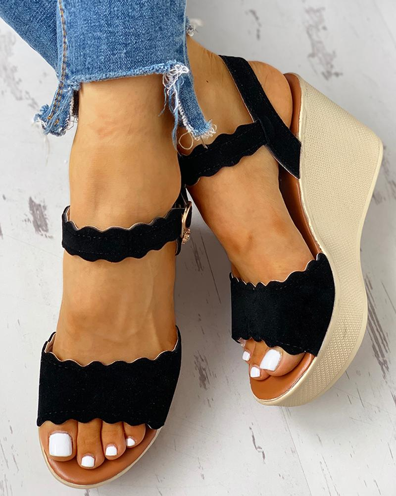 Ankle Strap Buckled Platform Wedge Sandals