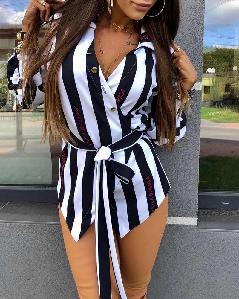 Turn-down Collar Striped Buttoned Lantern Sleeve Shirt