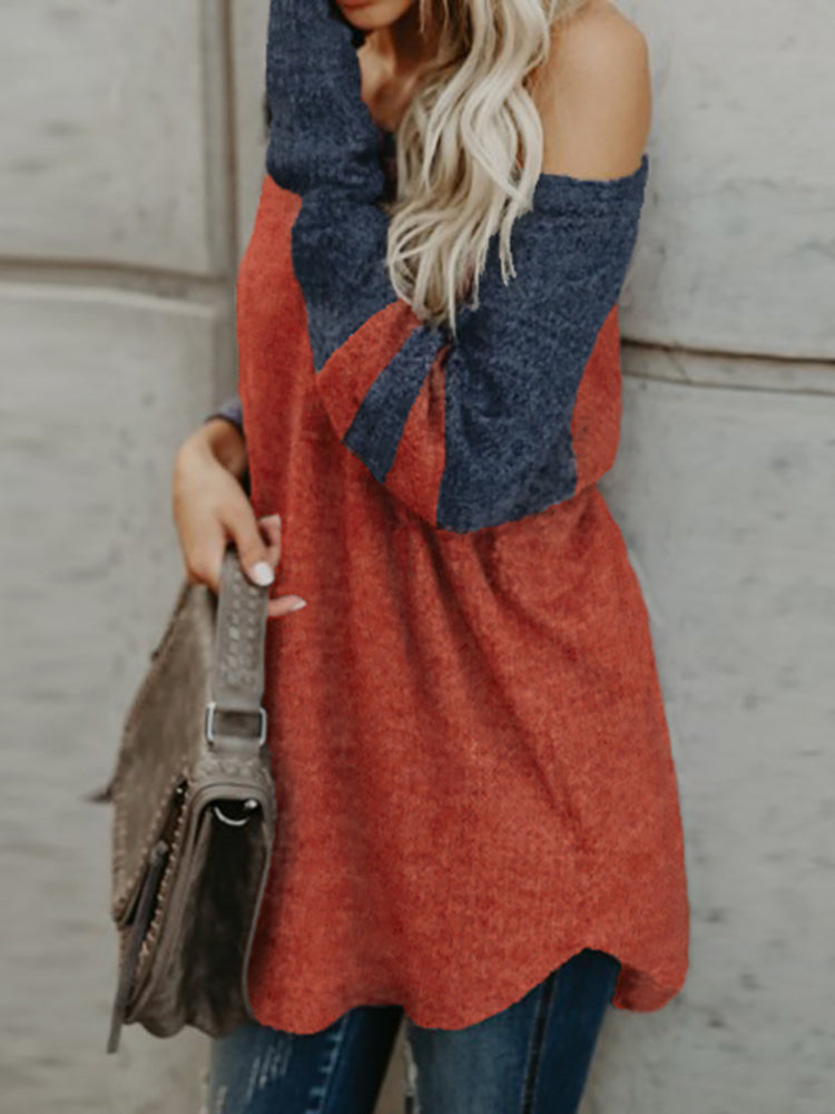 Contrast Color One Shoulder Stripes Casual Sweater