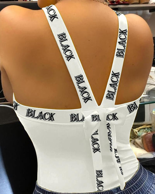 Thick Strap Backless Letter Poker Print Sporty Top