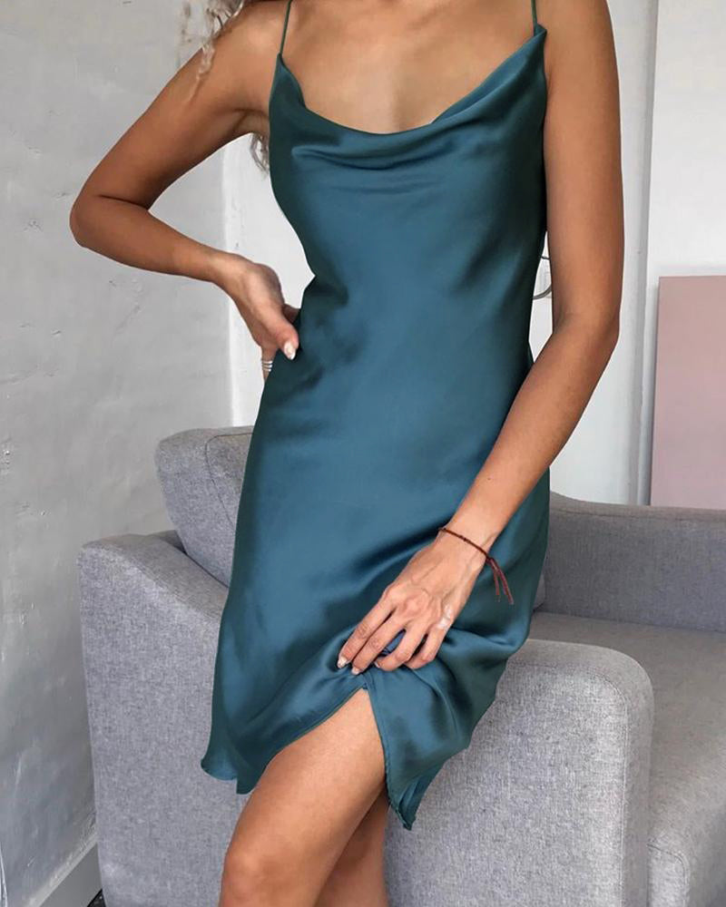 Satin Spaghetti Strap Cowl Neck Dress