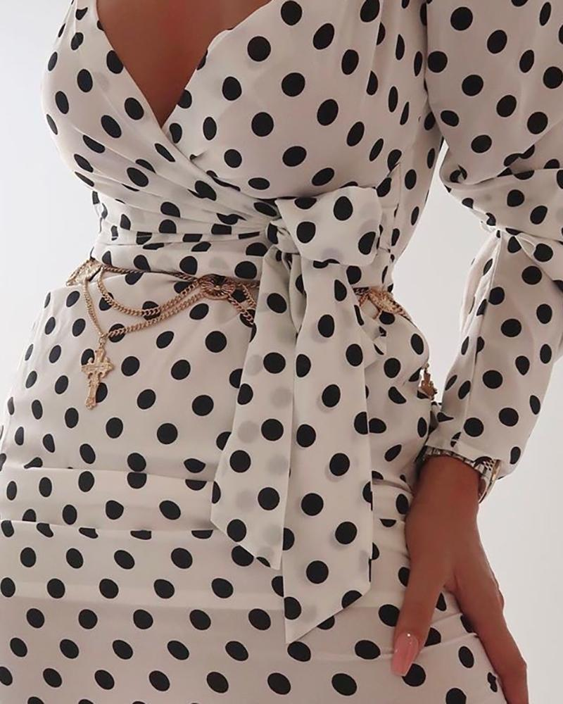 Dot Puff Sleeve Tied Waist Dress