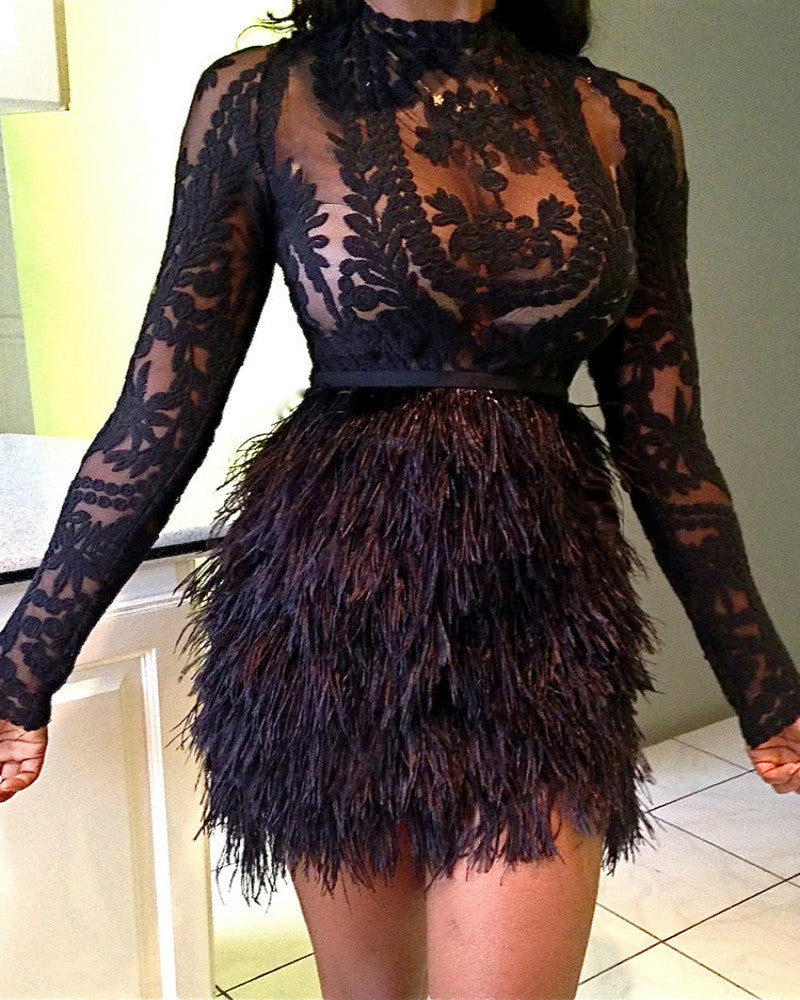 See Through Lace Top With Faux Fur Skirt Set