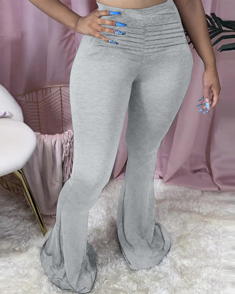 High Waist Solid Bootcut Pants
