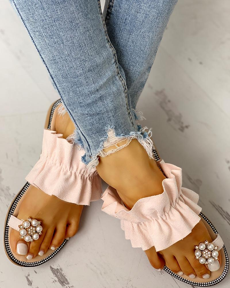 Toe Ring Beaded Frill Hem Casual Sandals