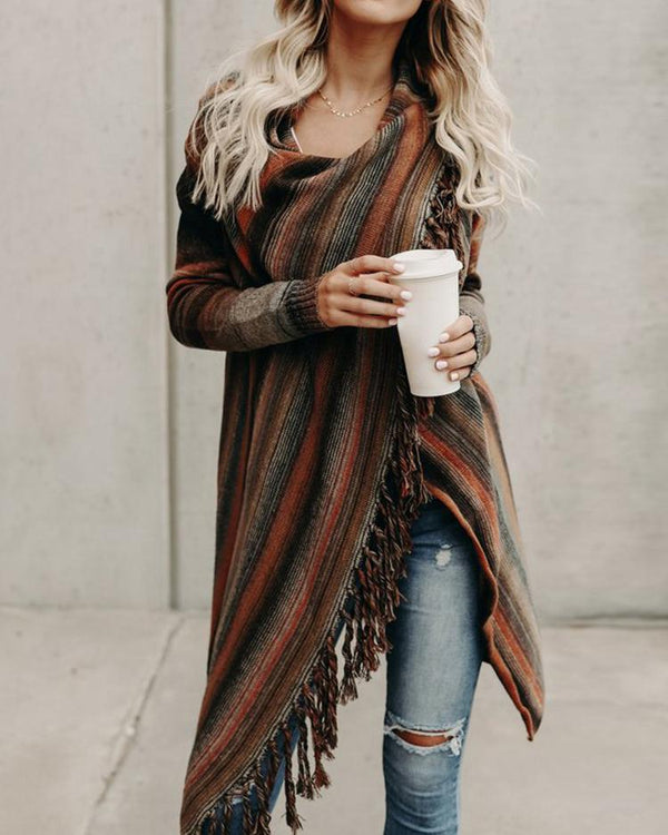 Asymmetric Pinstripes Tassel Sweater Cardigans
