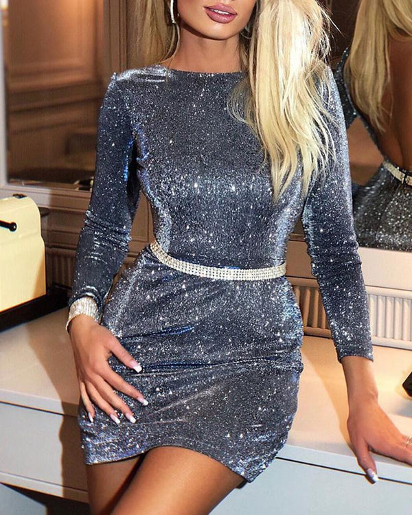 Bodycon Glitter Mini Dress