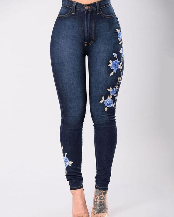 Embroidered High Waist Skinny Denim Pants