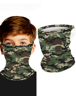 Camouflage Breathable Ear Loop Face Bandana Headwrap For Children