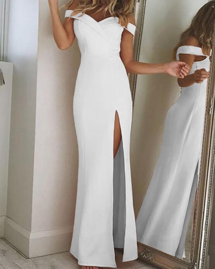 Off Shoulder Thigh Slit Evening Dress