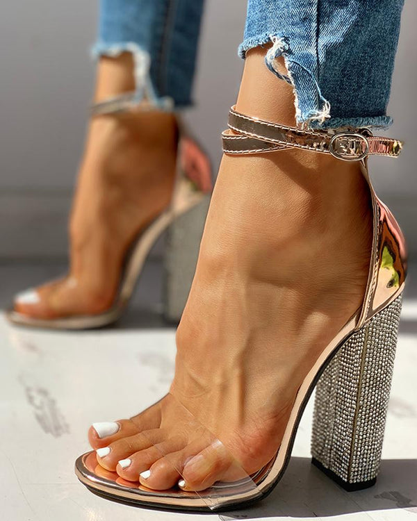 Diamante Trim Ankle Strap Chunky Heeled Sandals
