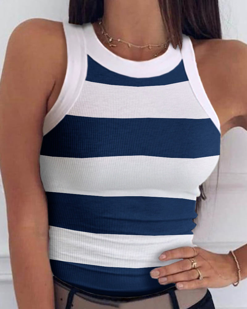 Striped Round Neck Sleeveless Casual Top