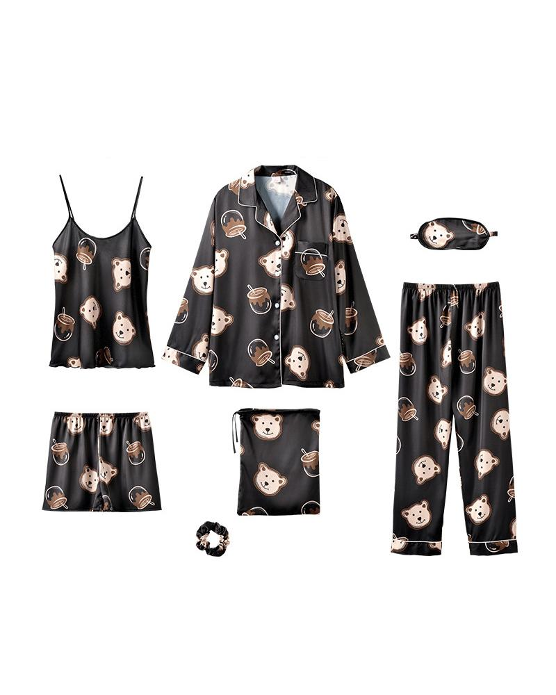 Comfy Ice Slik Blindfold Seven-piece Pajamas Sets