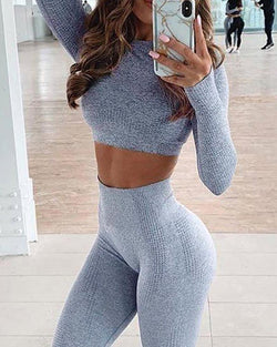 High Waisted Seamless Fitness Gym Sport Yoga Set