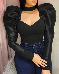 Solid Puffed Sleeve Cut Out Chest Blouse