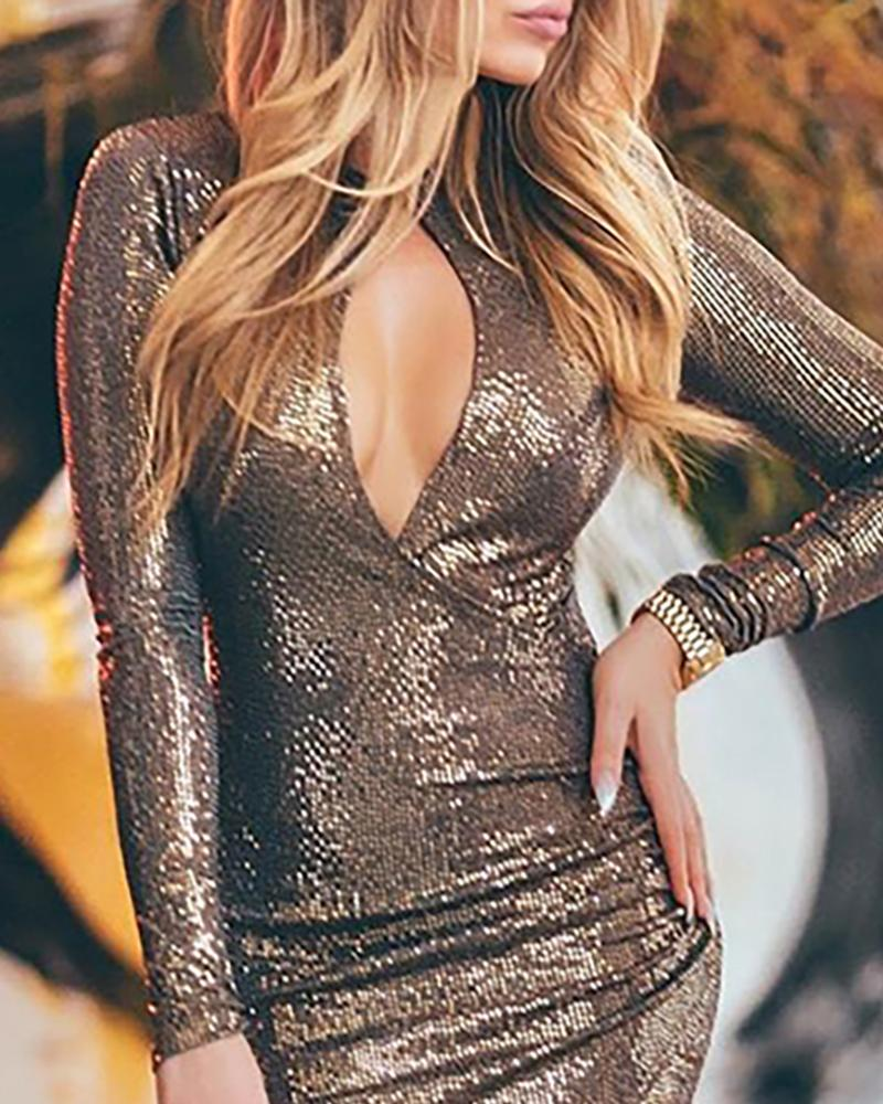 Sequins Cut Out Chest High Slit Dress