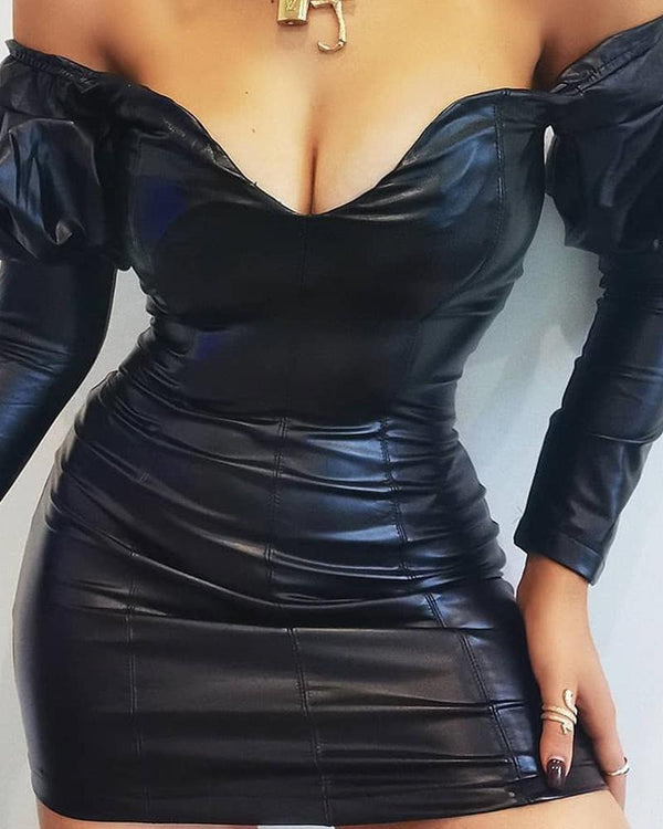 Off Shoulder Long Sleeve Leather Dress