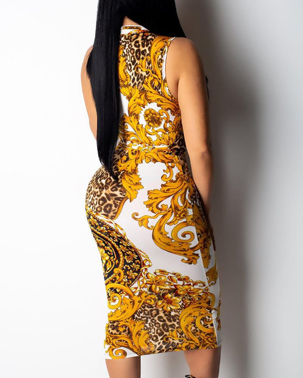 Ethnic Print Zipper Design Midi Dress