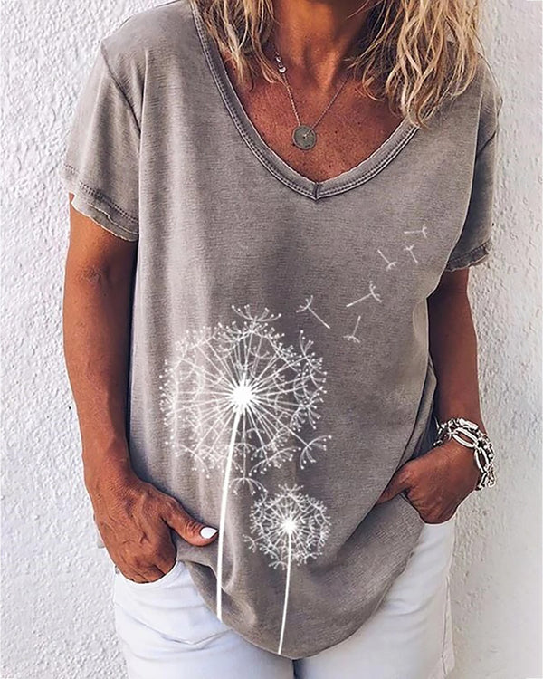 Flower Print V-neck Short Sleeve Casual T-shirt