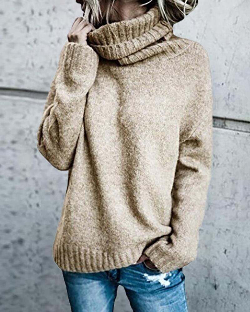 Solid Long Sleeve High Neck Sweater