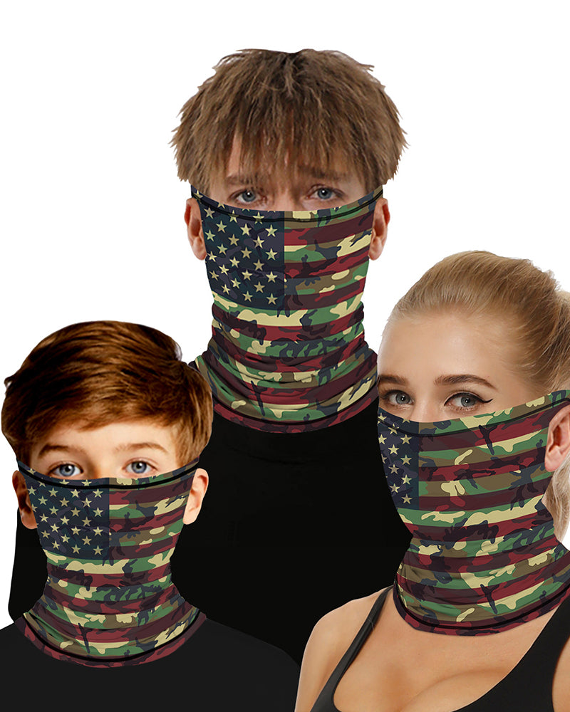 Camouflage Flag Print Breathable Ear Loop Face Bandana Headwrap For Children