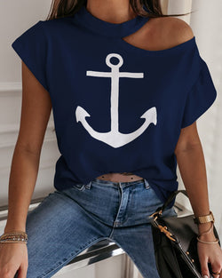 Boat Anchor Print Cold Shoulder Casual T-shirt