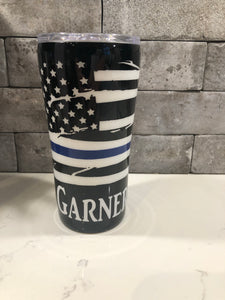Weathered Blue Line Flag Tumbler
