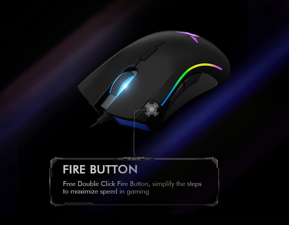 Delux M625 A3050 RGB Backlight Gaming Mouse 4000 DPI