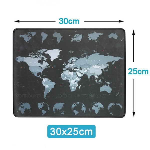 Extra Large Mouse Pad World Map Anti-slip Natural Rubber with Locking Edge