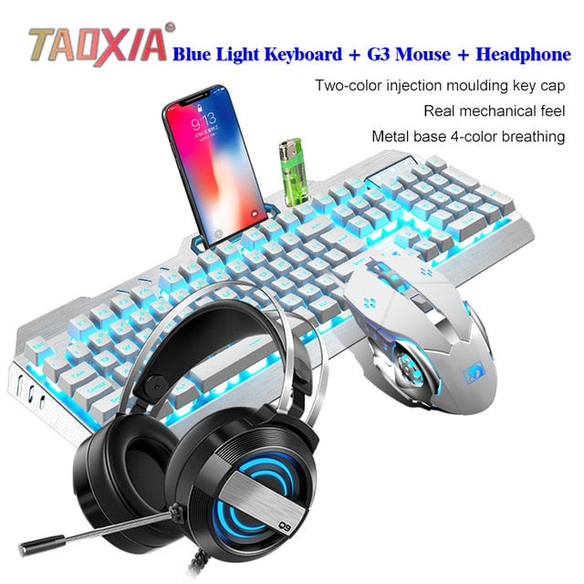 Mechanical Keyboard And Mouse Headset Three-piece Gaming Peripherals