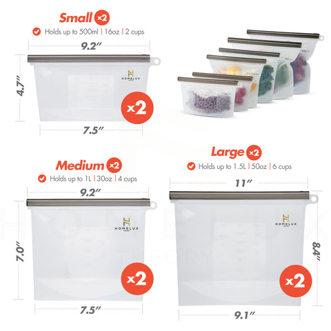 Reusable Silicone Food Storage Bags - Black (2 Large + 2 Medium + 2 Small)
