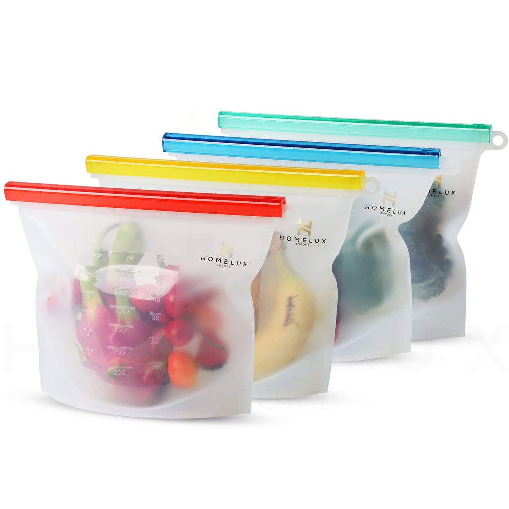 Reusable Silicone Food Storage Bags (4 Large)