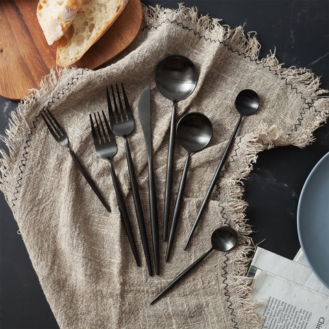 Modern Stainless Steel Flatware Set - Black (2 servings)