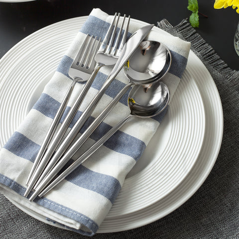 Modern Stainless Steel Flatware Set - Silver (2 servings)