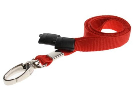 Red Lanyards Plain 10mm Flat with Metal Clip - Promotions Only Lanyards