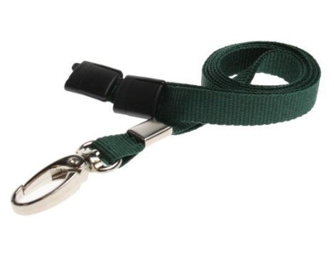 10mm Flat Unbranded Green Lanyards with Metal Clip