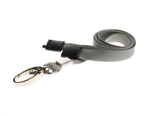 10mm Flat Unbranded Grey Lanyards with Metal Clip
